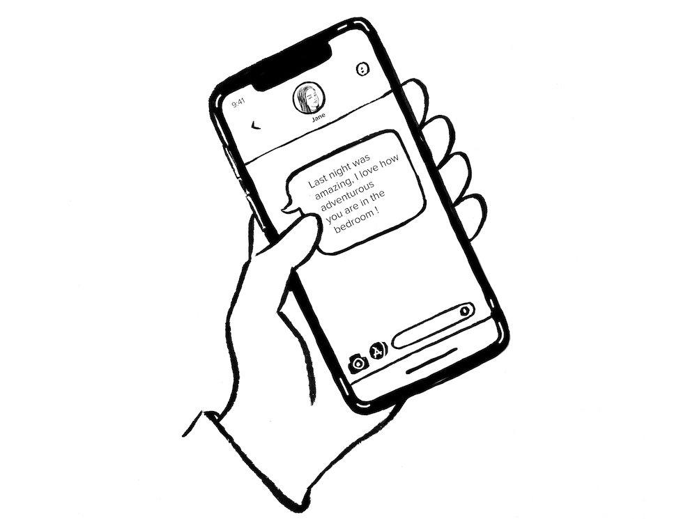 mesajul text de pe telefon este ținut în stânga