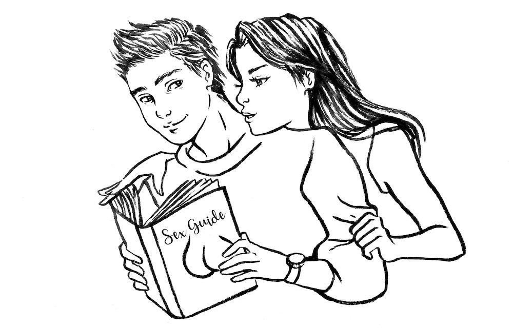 femeie și bărbat care citesc o carte de sfaturi despre sex